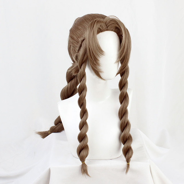 FF VII 7 Remake Aerith Gainsborough Cosplay Brown Braid Long Heat Resistant Synthetic Hair Halloween Carnival + Free Wig Cap