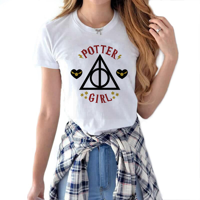 Potter Girl Letter Printed Female T-shirt Harajuku Woman Tshirt Top Kawaii Streetwear Aesthetic T Shirt Ropa Mujer Verano 2019