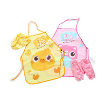 Creative home daily necessities waterproof apron cartoon children gown kitchen sleeve set