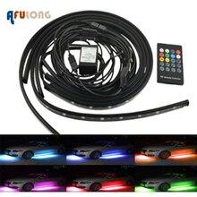 4 stücke Auto Underglow Flexible Streifen LED Remote/APP Control RGB Dekorative Atmosphäre Lampe Underglow Unterboden system Neon Licht