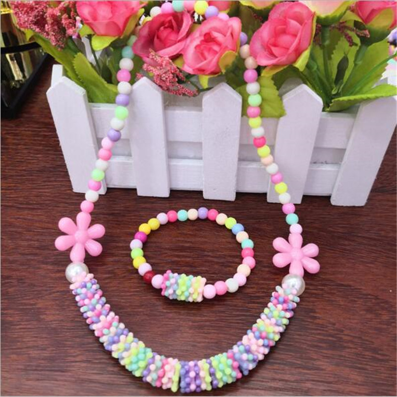 2019 Flower Child Jewelry Set for Party Fashion Beads Necklace and Bracelet Girls Jewelry Kids Acrylic Children's Decoration