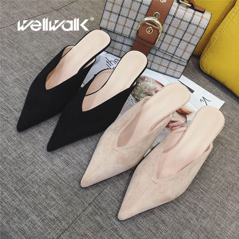 Wellwalk Nude Slippers Women Pointed Toe Slides Women Mules Small Heel Slippers Ladies Dress Shoes Fashion High Mules Female
