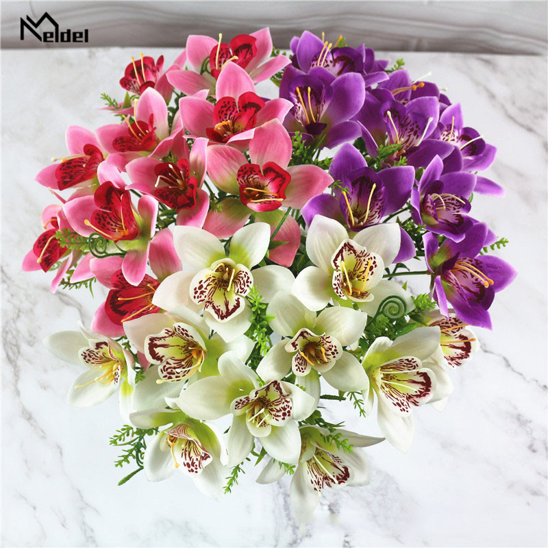 9Pcs/Lot Artificial Silk Orchid Flowers Branch Vivid Artificial Fake Silk Orchid Bridal Wedding Flowers Home Table Decor Flores