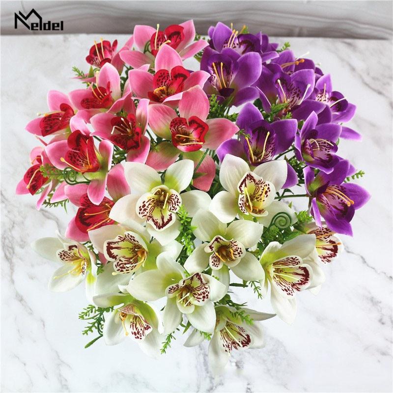 9Pcs/Lot Artificial Silk Orchid Flowers Branch Vivid Artificial Fake Silk Orchid Bridal Wedding Flowers Home Table Decor Flores