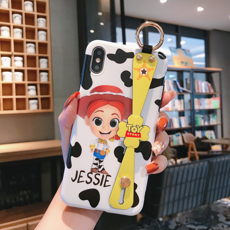 Remazy Cartoon <font><b>Toy</b></font> <font><b>Story</b></font> Strap Stand Phone Case For <font><b>iPhone</b></font> X XS MAX XR 7 8 <font><b>6</b></font> 6s Plus Woody Glossy Soft IMD Back Cover <font><b>Funda</b></font> Bag image