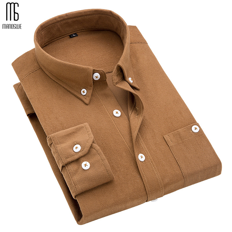 Manoswe New Men Winter Corduroy Solid Color Long Sleeve Shirt 2020 Casual Slim Fit Soft Comfort Bottoming Shirt Oversize 5xl