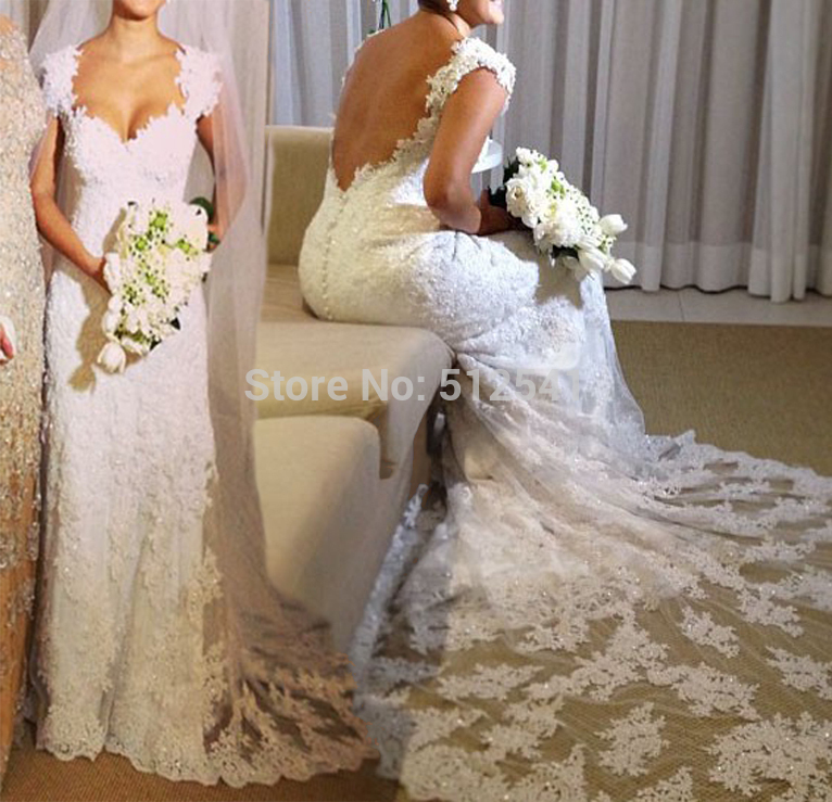 Free Shipping Lace Backless Wedding Dresses Sheath Sweetheart Applique Beads Sequin Cap Sleeve Bridal Gown 2019 Robe De Mariee