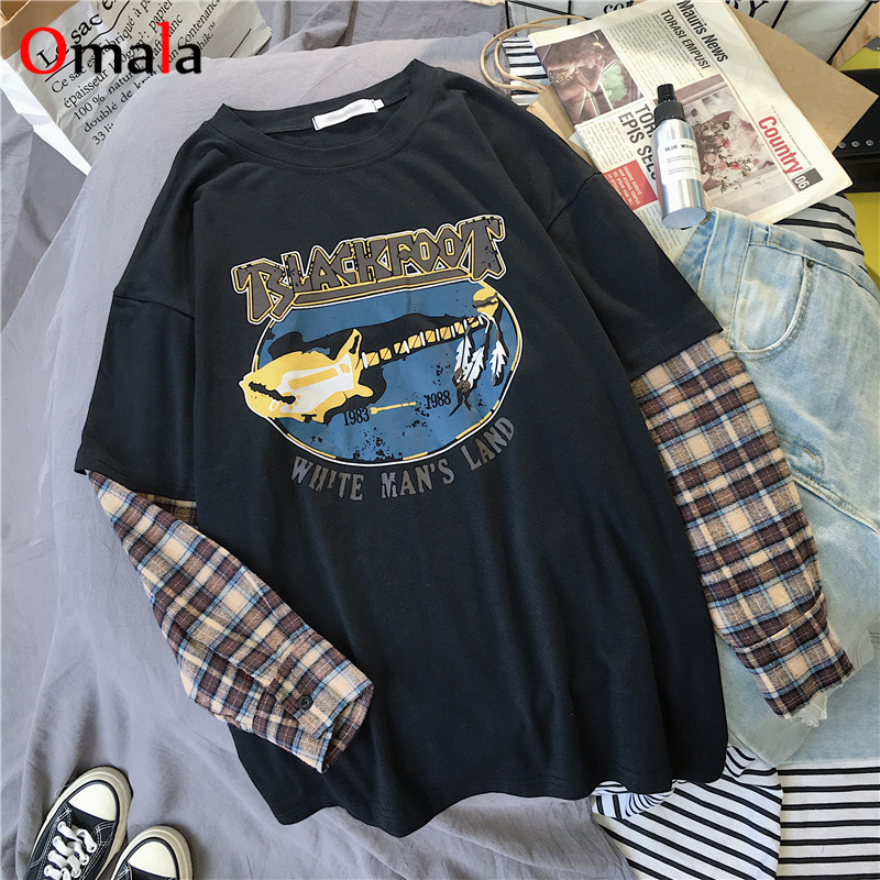 Korean Simple oversized graphic tees Women shirts fashion Long Sleeve tshirt Leisure Plaid patchwork t shirt white black tops 4