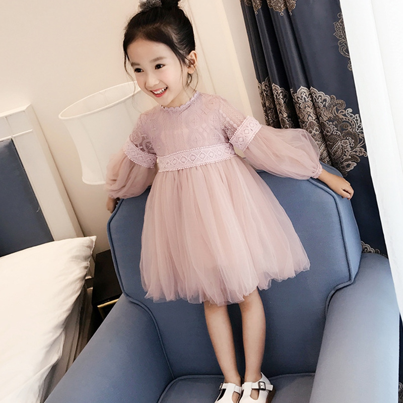 Baby Girl Dress 3-9T Long Sleeve Girls Puff Sleeves Dress Silk Yarn Solid Color Princess Dresses Spring