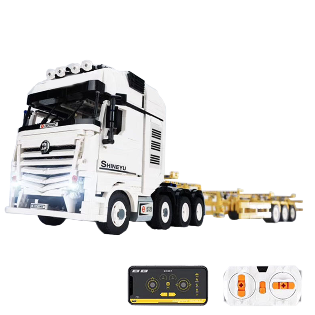 2681Pcs Moc Small Particles Building Blocks 2.4G Dual RC 4CH Truck Assembly DIY Trailer Model As Gift And Collection
