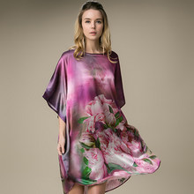 Women 100% Mulberry Long Silk s For Women Silk Women Real Silk Sleepwear Ladies Female Floral Nightdress GiftNightgown