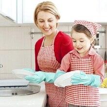 Magic Silicone Dishwashing Scrubber Dish Washing Sponge Rubber Scrub Gloves Kitchen Cleaning 1 Pair cleaning gloves