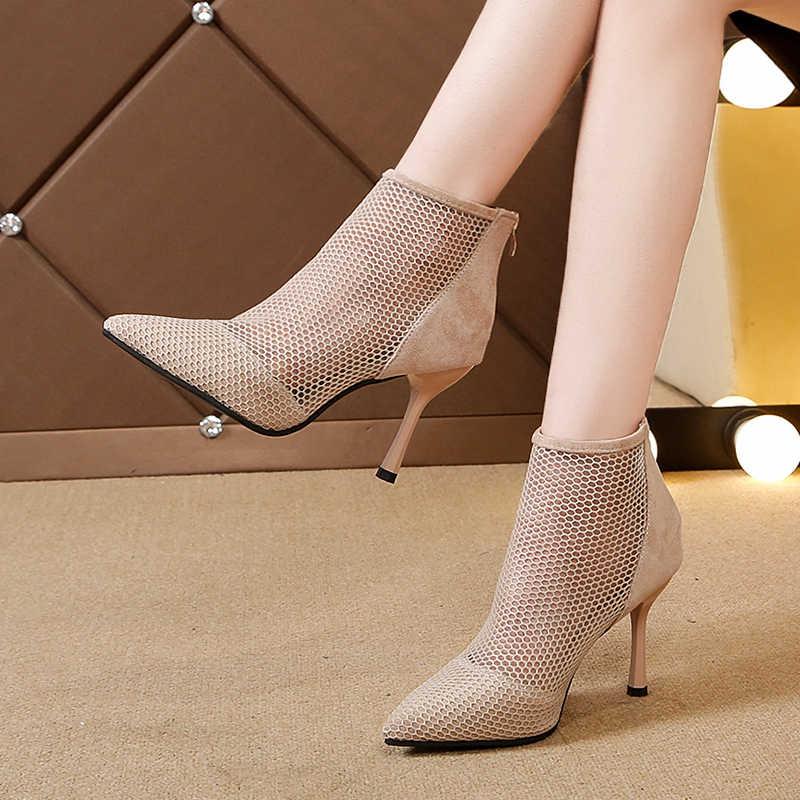 2019 Moda Bayan yarım çizmeler Örgü Ayakkabı Seksi Yüksek Topuklu Bayan Platformu Lace Up Ayakkabı Kadın