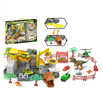 Dinosaur Institute Pretend Play DIY Assemble Dinosaur Home Toys Parking Lot Playset Diecasts & Toy Vehicles