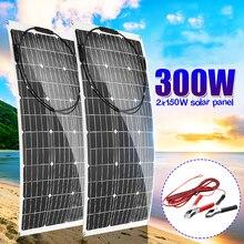 Панели солнечные 300 W/150 W 18V Semi Гибкая панель солнечной батареи из монокристаллического кремния Сотовый DIY MC4 кабель Водонепроницаемый открытый разъем Батарея Зарядное устройство