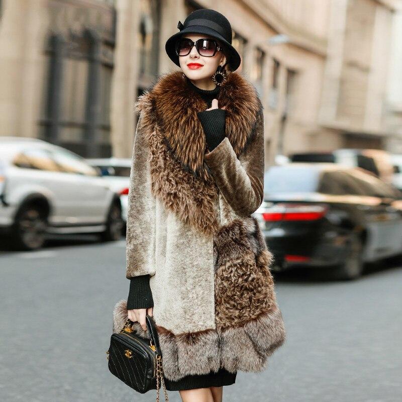 Natural Fur Coat Female Real Fox Raccoon Fur Collar Shearing Jacket Women Clothes 2020 Korean Vintage Double Faced Tops LW2180