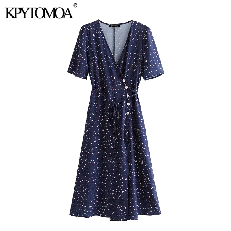 KPYTOMOA Women Chic Fashion Printed Button-up Wrap Midi Dress Vintage V Neck Short Sleeve Summer Beach Female Dresses Vestidos
