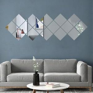 9/16PC Bathroom Mirrow Wall Decorative Self Adhesive Furniture Films 15X15cm Square Quality Mirror Foil Wall Stickers New11