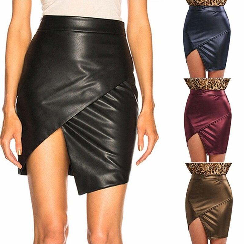Leather Skirt Women Fashion Black Cross Split A-Line Short Skirt Solid Casual Irregular Female Bodycon Mini Skirt