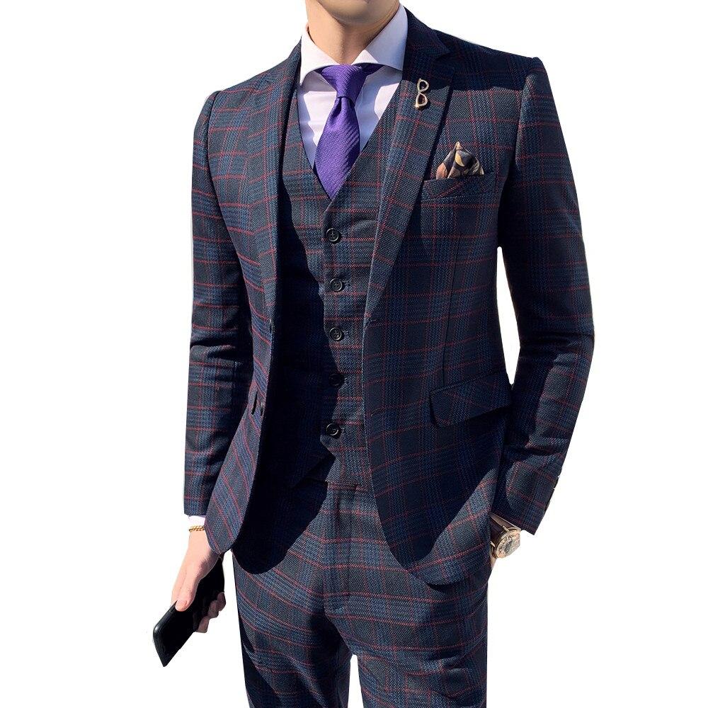 Mens Suits With Pants 3 Pieces Suit Vest Retro Plaid Slim Fit Business Casual Formal Wedding Suits Set Formal Dress Tuxedo 2019