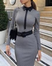 2020 herbst Frauen Elegante Hahnentritt Colorblock Langarm Arbeit Kleid Dame Femee Sexy Turndown Kragen Dünne Mid Kleid Outfits