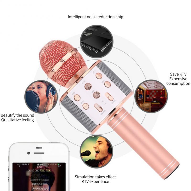 Wireless Karaoke Microphone Bluetooth Handheld  Speaker KTV Player Singing Mic LED Lights Record Function For Home Part Karaoke