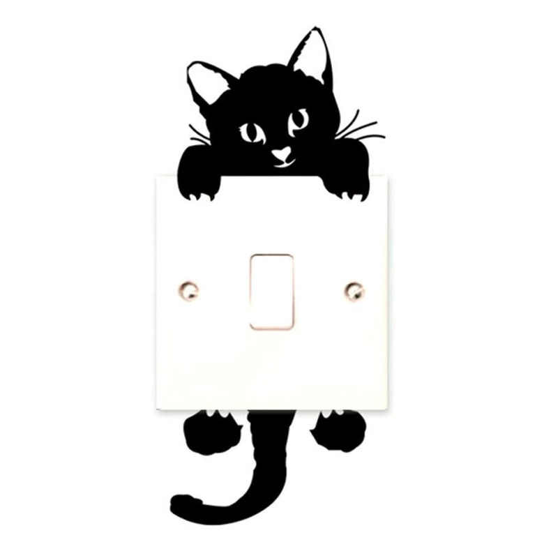 Na włącznik światła z uroczym kotkiem telefon naklejki ścienne dla pokoje dla dzieci dekoracje dla domu DIY zwierzęta kreskówkowe naklejki ścienne tapeta pcv Art kuchnia