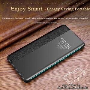 Image 4 - Fenêtre de vue intelligente de luxe P40pro étui à rabat pour Huawei P40 P30 P20 Mate 30 20X 5G 10 Pro Lite P10 Plus couverture de téléphone en cuir véritable