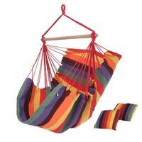 Portable columpio colgador colgante cesta hamaca Hogar Cuna asiento 2 almohadas interior, exterior, silla colgante de cuerda de jardín
