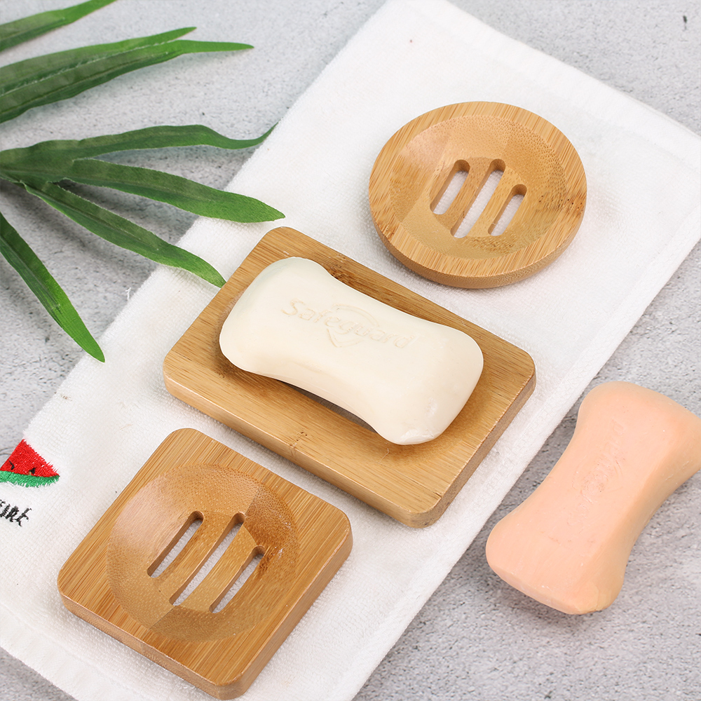 1Pcs Wooden Soap Tray Drainer Soap Dishes Soap Holder Bath Shower Soap Stand Storage Box Drain Bamboo Box Bathroom Supplies