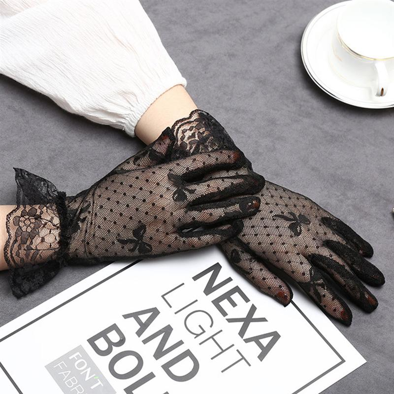 Black Wedding Gloves Elegant Rhinestone White Black Lace Gloves Dress Gloves Women Wedding Bridal Gloves For Women Ladies