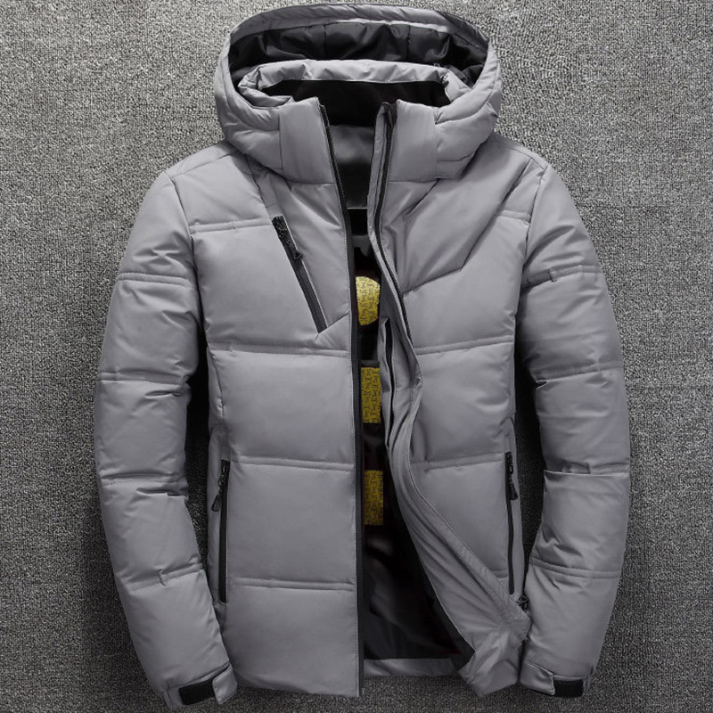 Fashion 2019 Winter Jacket Mens White Duck Down Jacket Men Thermal Thick Coat Snow Red Black Parka Male Warm Outwear F111404