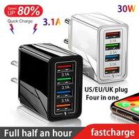Caricabatterie USB multiporta 4 in 1 QC 3.0 adattatore rapido spina ue/usa/regno unito presa di ricarica rapida per iPhone/Huawei/Xiaomi Carregador