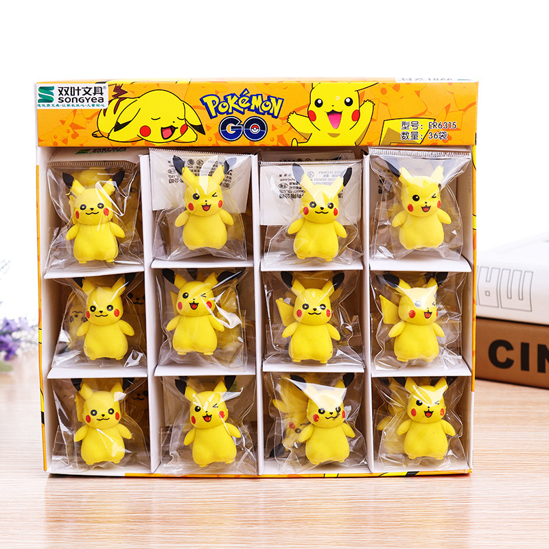 3D Pikachu Removable Rubber Eraser Primary Student Prizes Promotional Gift Stationery