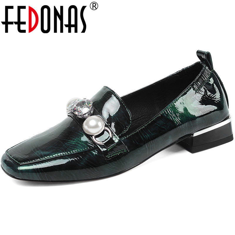 FEDONAS Pearl Metal Decoration Spring Summer Cow Patent Leather Thick Heeled Women Pumps Square Toe Fashion New 2020 Shoes Woman