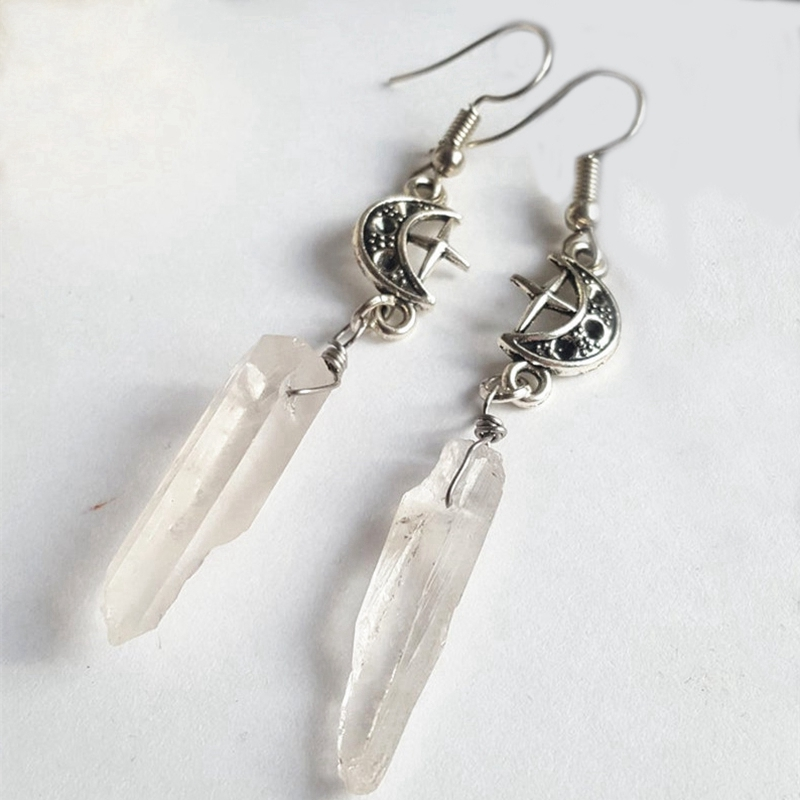 Clear Quartz Moon Earrings Boho, Witchy, Natural Stones, Esoteric, Celestial, Alternative, Nugoth, Gothic, Romantic.star Gift