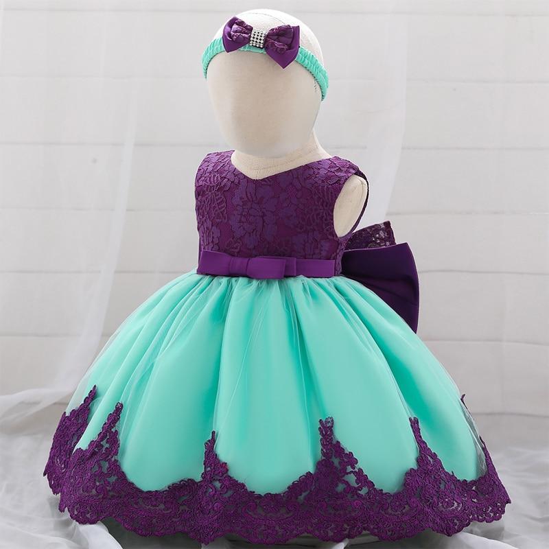 2019 Big Bow Flower Girl Dress Newborn Baby Dress Girl Princess Ball Gown Costume Holy Communion Dresses Baptism Vestido