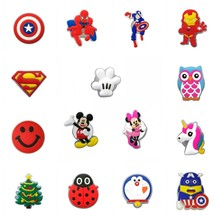 200pcs Cool LED Shoe Charms Mickey Avenger Lighted Shoe Buckles Accessories Fit Bracelets Xmas Tree Croc JIBZ Kids Gift 16pcs mickey minnie pvc shoe charms shoe accessories shoe buckle for wristbands croc kids favor gift