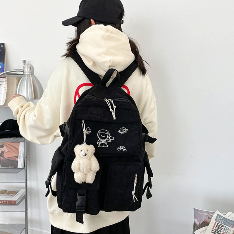 Individual Design Cartoon Embroidery Corduroy Backpack Retro Solid Color Casual Daypack Shoulder Bag for Women Girls Lovely Bag