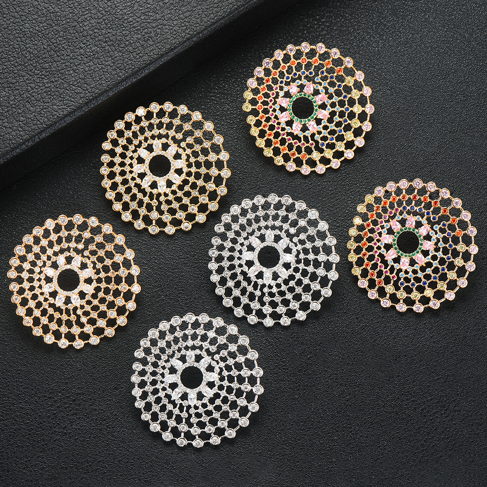 SisCathy 2019 Горячая Ручная работа модные ювелирные изделия полный кубический цирконий серьги для женщин Роскошные свадебные корейские серьги