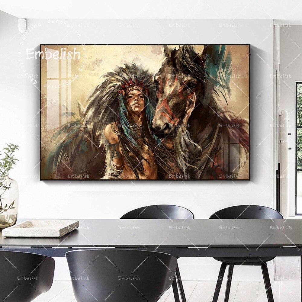 Акварельные картины на холсте с изображением индейской женщины и лошади HD для гостиной, Современный домашний декор, настенные картины