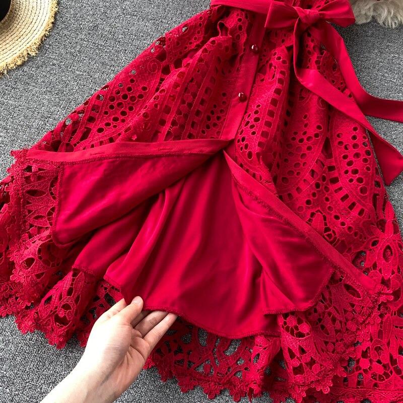 Elegant Hollow Out Balck Red White Short Sleeve Beach Dress 12