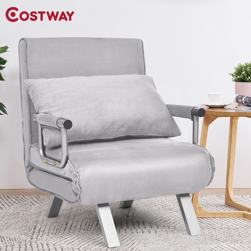 COSTWAY Chamois Convertible Sleeper Bed Arm Sofa with Pillow HW61586 image