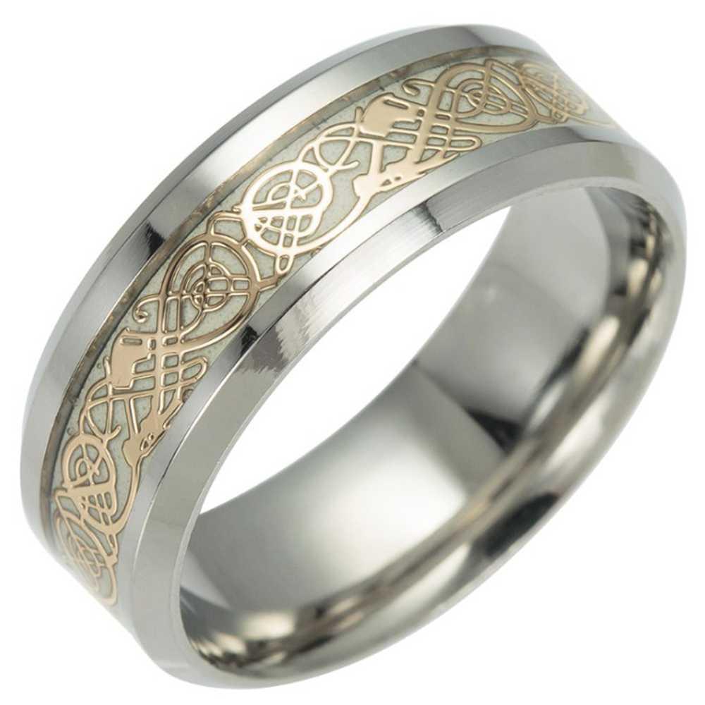 Lichtgevende Ring Black Fashion Man Minimalistische Rvs Ring Gloeiende Ring paar in de Dark Sieraden Zwart dominant