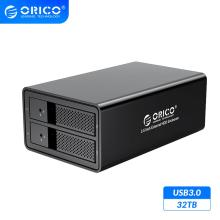 ORICO  95 Series 2 Bay 3.5'' USB3.0 HDD Docking Station Support 32TB UASP With 36W Internal Power Adaper Aluminum HDD Case