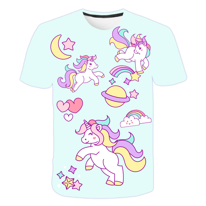 H99e0b175f82e42d2af338f4b50096515Q Baby Girls T-shirt 4 5 6 7 8 9 10 11 12 13 14 Years Unicorn Kids T Shirt Children Clothes Summer Unicorn T shirts Girl s Tee