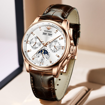 OUPINKE Men Mechanical Watch Luxury Automatic Watch Leather Sapphire Waterproof Sports Moon Phase Wristwatch Montre homme 4
