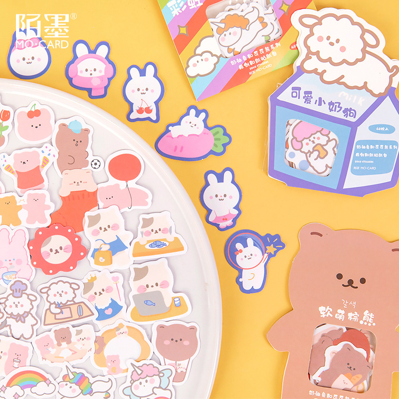 40pcs/1lot Kawaii Stationery Stickers Cream Rabbit And Cocoa Diary Decorative Mobile Stickers Scrapbooking DIY Craft Stickers