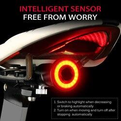 Inteligentny czujnik świateł hamowania rowerów jazda na rowerze rower Taillight USB ładowanie MTB Road wodoodporne tylne światło rowerowe latarka|Oświetlenie rowerowe|Sport i rozrywka -