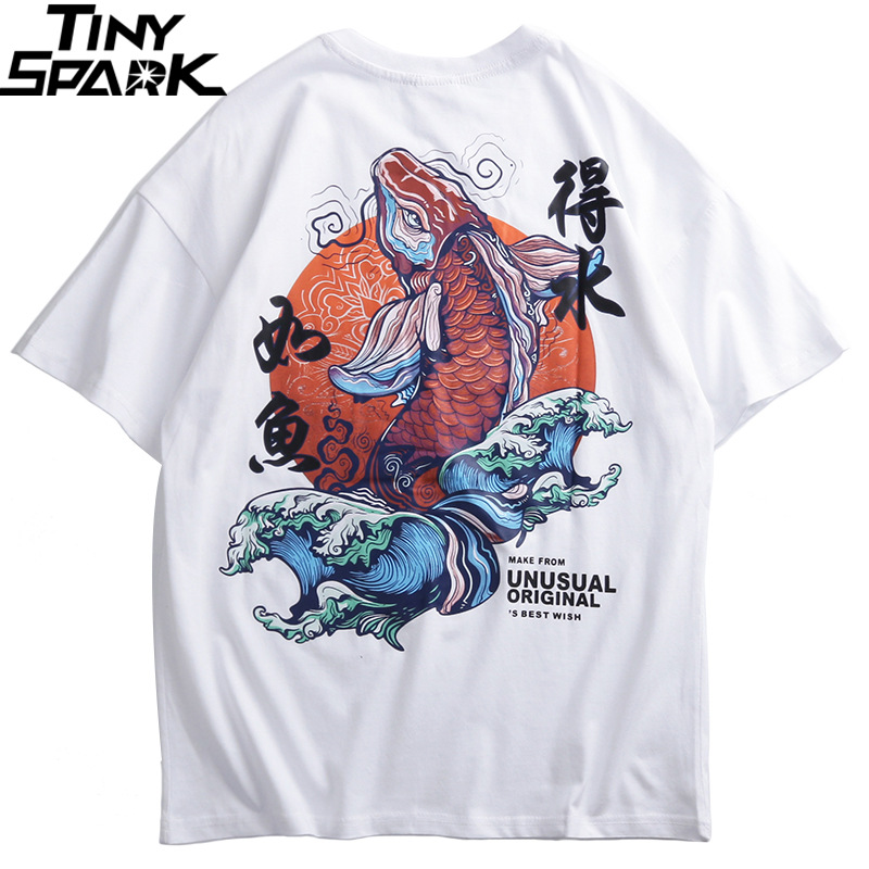 Men Hip Hop Tshirt Streetwear Retro Chinese Character T Shirt Koi Fish Print White Tops Tees 2019 Summer Harajuku T-Shirt Cotton